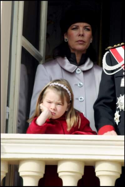 Alexandra de Hanovre et sa mère Caroline lors de la fête monégasque le 19 novembre 2004