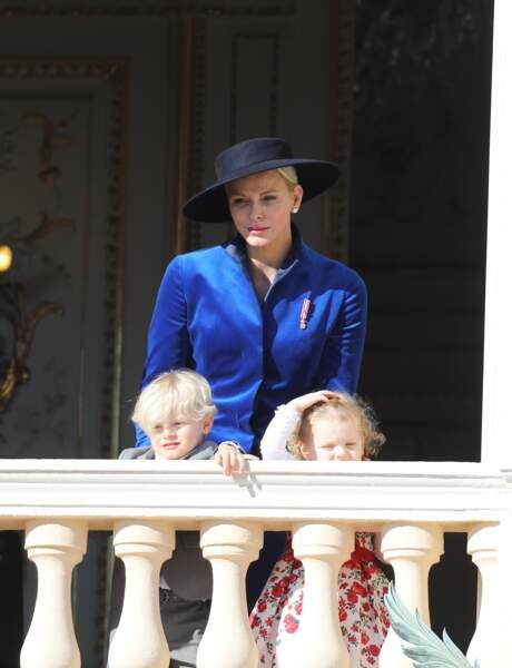 Charlène, Jacques et Gabriella lors de la fête nationale monégasque, le 19 novembre 2017