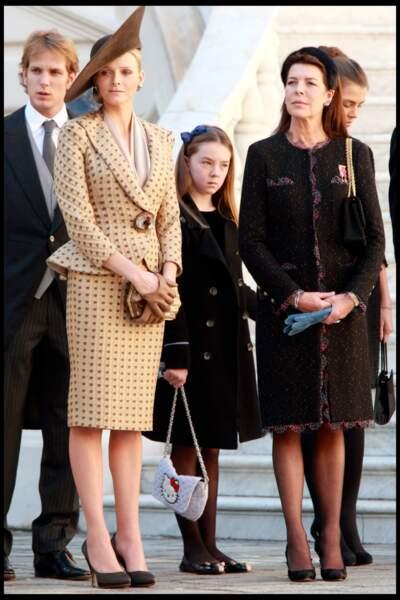 Alexandra de Hanovre, sa mère Caroline et la princesse Charlène lors de la fête monégasque le 19 novembre 2010