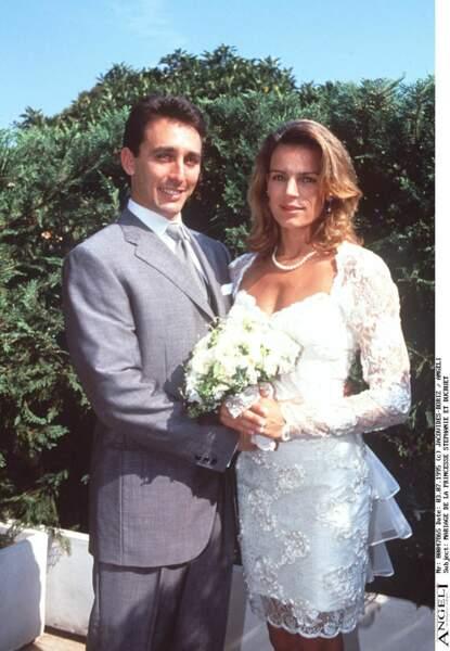 Stéphanie de Monaco et Daniel Ducret lors de leur mariage le 3 juillet 1995