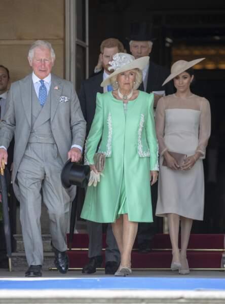 Charles, Camilla et Meghan lors de la garden party des 70 ans du prince Charles le 22 mai 2018