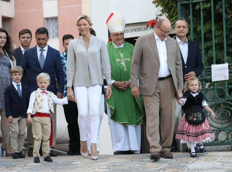 Jacques, Charlène, Albert et Gabriella au Pique-nique des Monégasques, le 31 août 2018 à Monaco