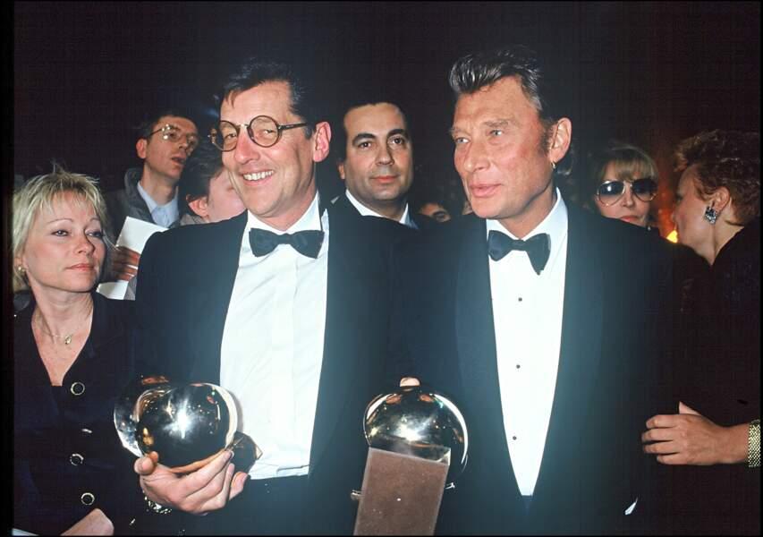 Jean-Claude Camus et Johnny Hallday aux Victoires de la Musique en 1991