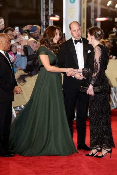 Kate Middleton aux BAFTA 2018 aux côtés d'Amanda Berry (directrice déléguée de la BAFTA)
