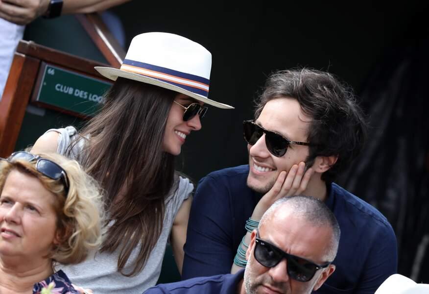 Vianney et sa compagne Catherine Robert à Roland Garros le 3 juin 2018
