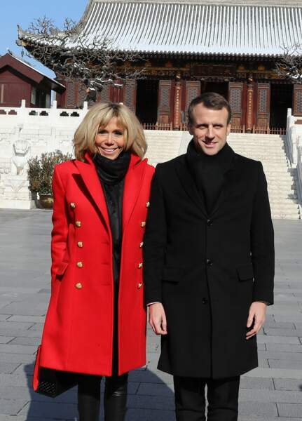 Le Président de la République et sa femme, lors de la visite d'Etat de trois jours en Chine, le 8 janvier 2018.
