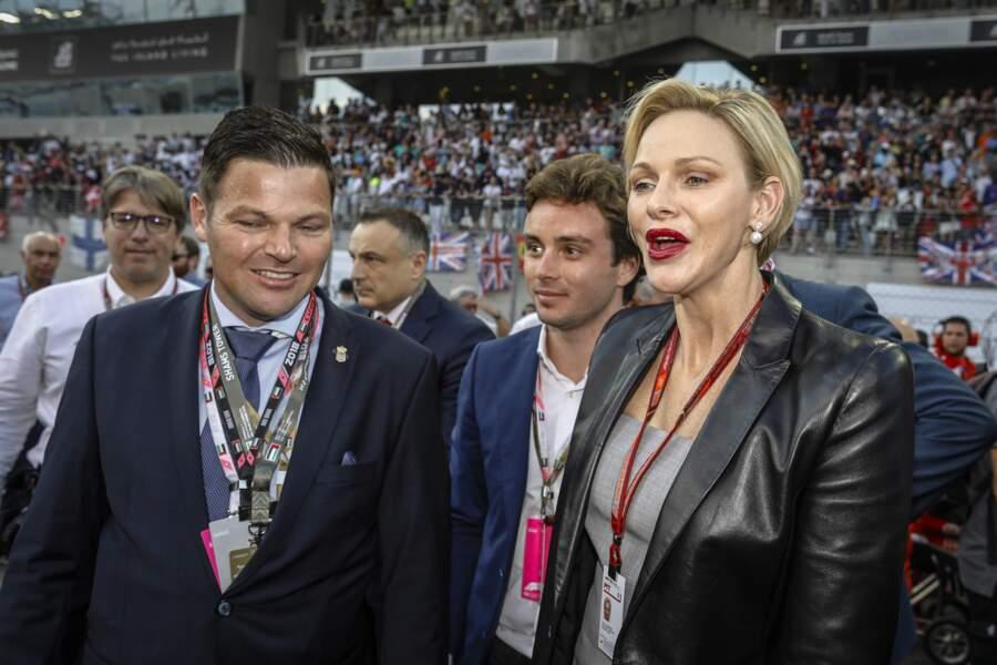 Charlène de Monaco et son frère Sean Wittstock au Grand Prix de F1 d'Abu Dhabi, le 25 novembre 2018