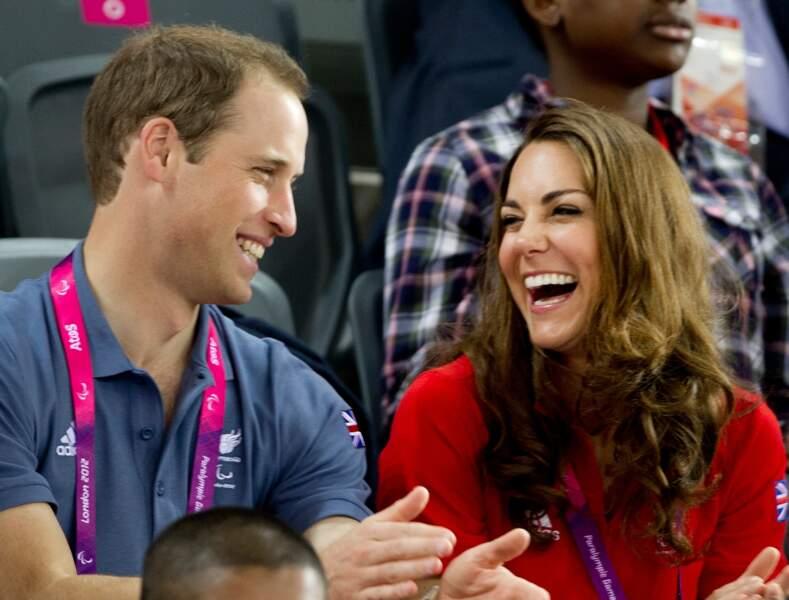 William et Kate, tout sourire, dans les tribunes du stade velodrome pour les J.O. de Londres, le 30 août 2012