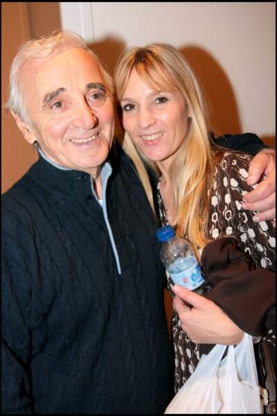 Charles Aznavour avec sa fille Katia, au Palais des Congrès.