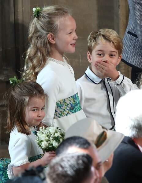 La princesse Charlotte, Savannah Philips et le prince George lors du mariage d'Eugenie d'York, le 12 octobre 2018