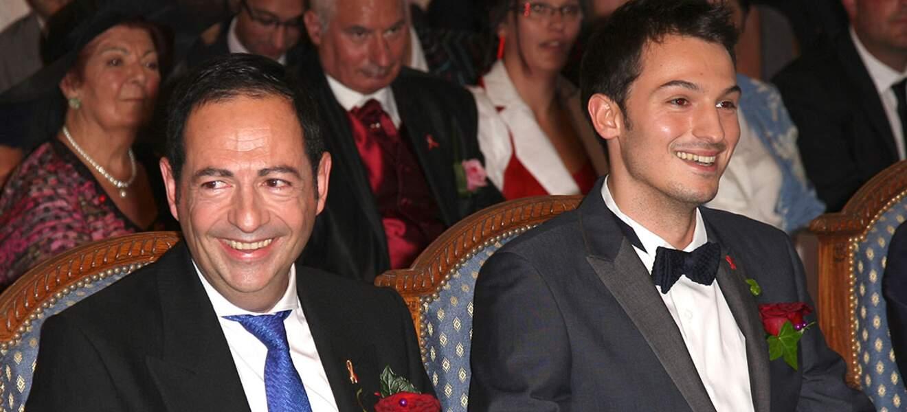 Christophe Michel et Jean-Luc Romero lors de leur mariage le 27 septembre 2013.