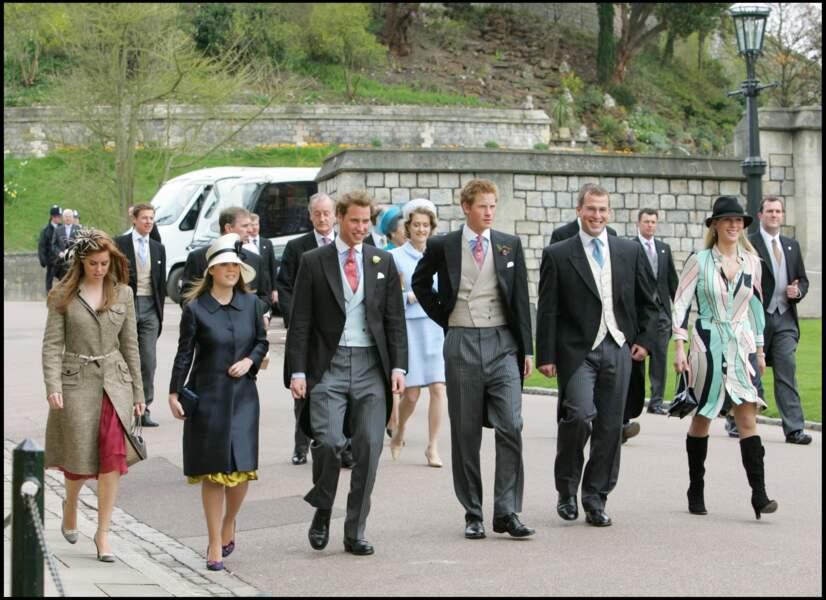 Eugénie d'York et Béatrice d'York, avec leurs cousins, les princes William et Harry, en avril 2005