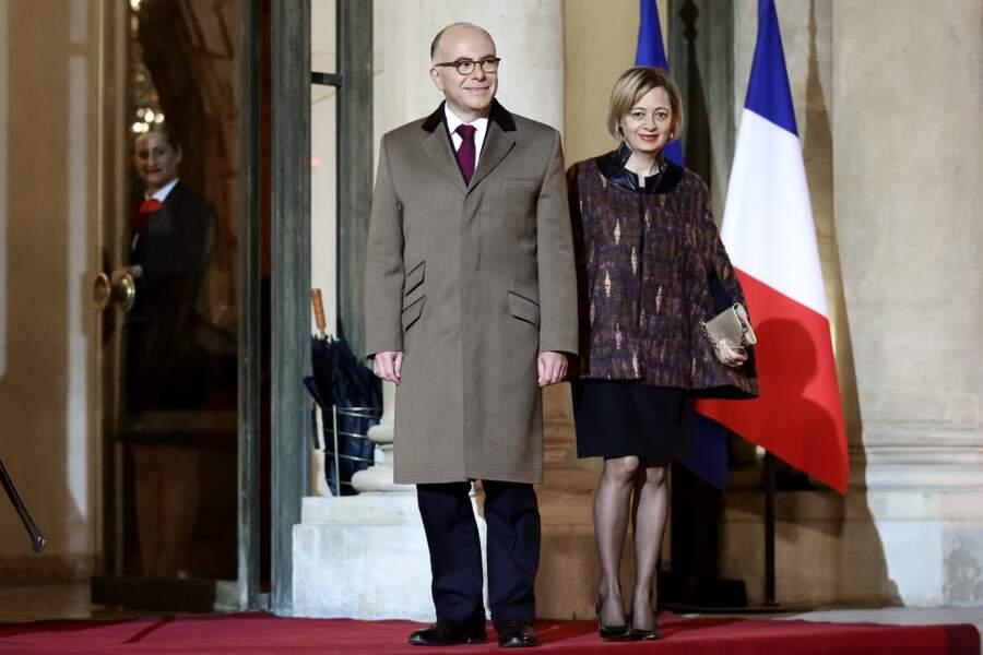 Bernard Cazeneuve et Véronique, sur le tapis rouge de l'Elysée