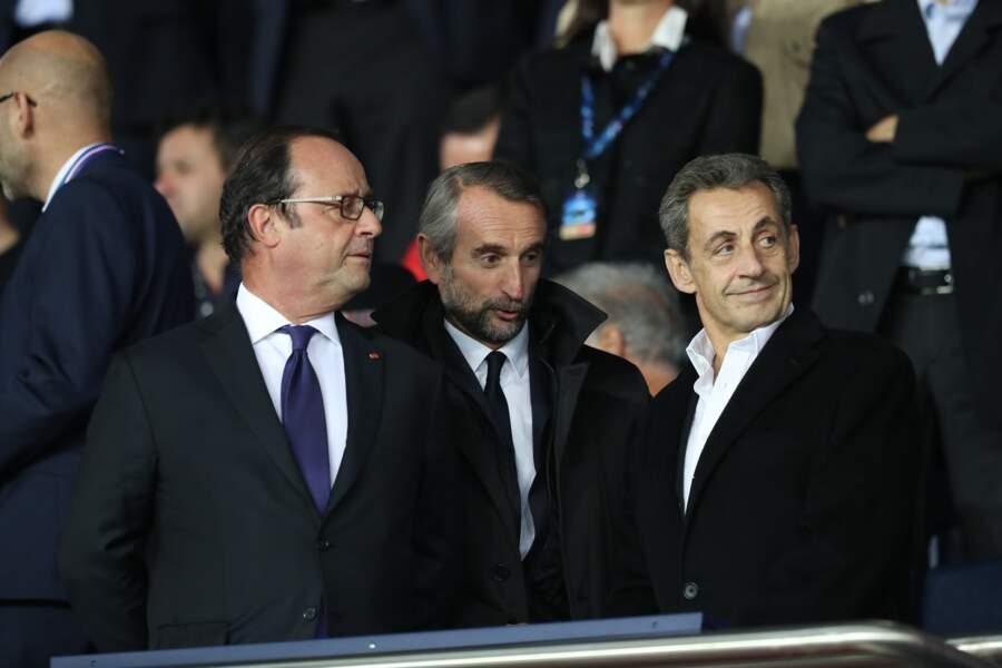 François Hollande et Nicolas Sarkozy heureux de se retrouver au Parc des Princes