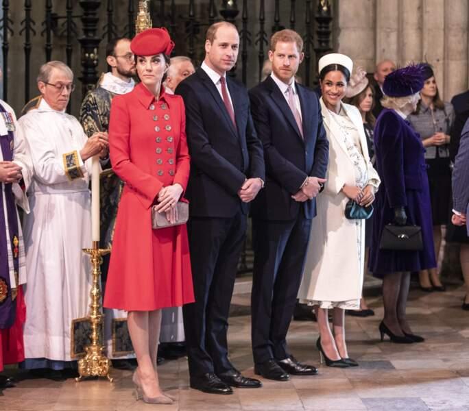 Meghan et Kate avec leurs époux à l'Abbaye de Westminster pour une sortie officielle, à Londres, le 11 mars 2019.