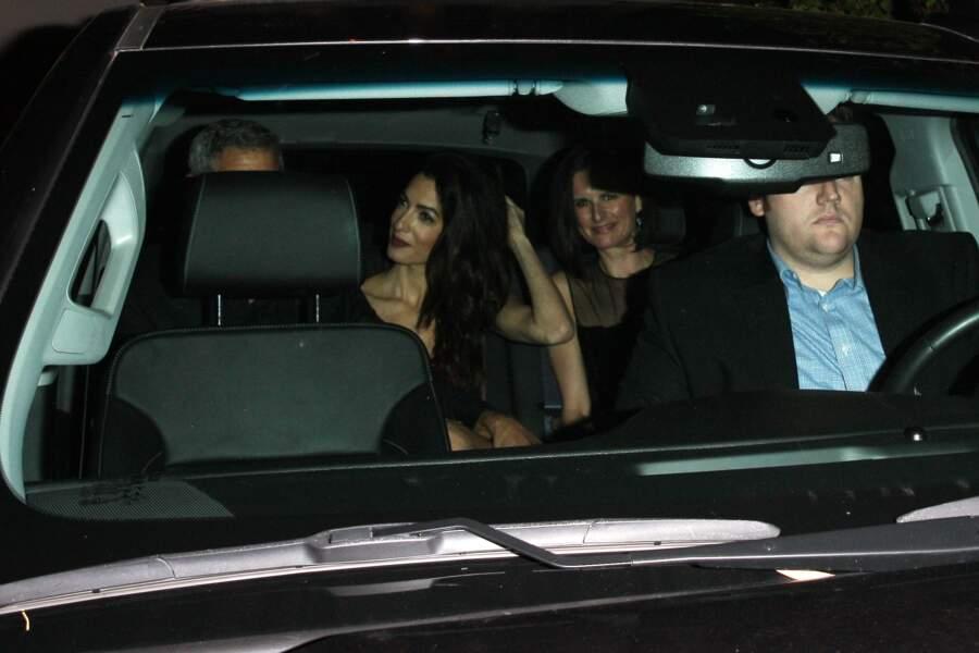 Amal et George Clooney quittant la soirée des 50 ans de Jennifer Aniston le 10 février 2019
