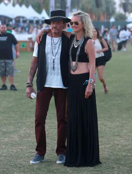 Johnny et Laeticia Hallyday assistent au festival Coachella, le 18 avril 2015