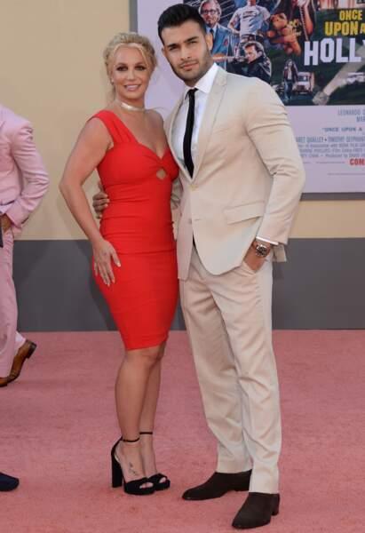Britney Spears et son compagnon Sam Asghari à la première de Once Upon a Time in Hollywood à Los Angeles