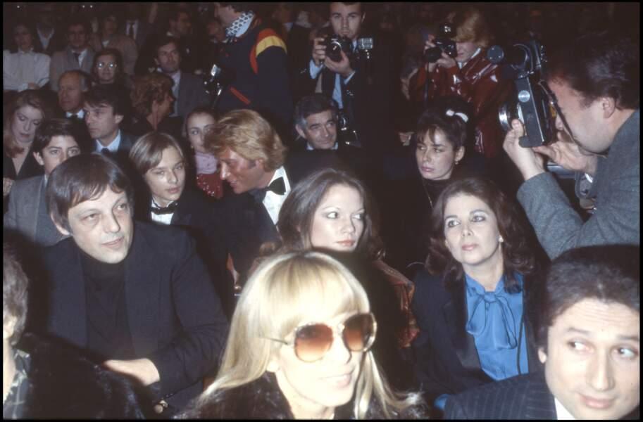 Johnny et David Hallyday lors de la première du concert de Sylvie Vartan au Palais des Sports en 1981