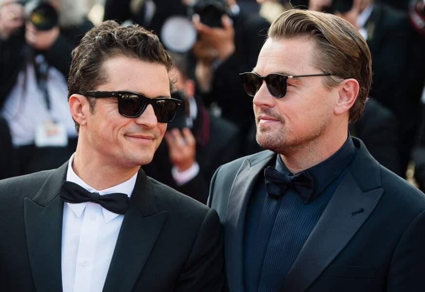 """Orlando Bloom et Leonardo DiCaprio, lors de la montée des marches du film """"Le Traitre"""" le 23 mai 2019"""
