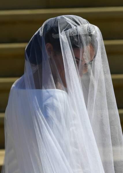 Meghan Markle lors de son arrivée à la chapelle St George à Windsor pour son mariage le 19 mai 2018