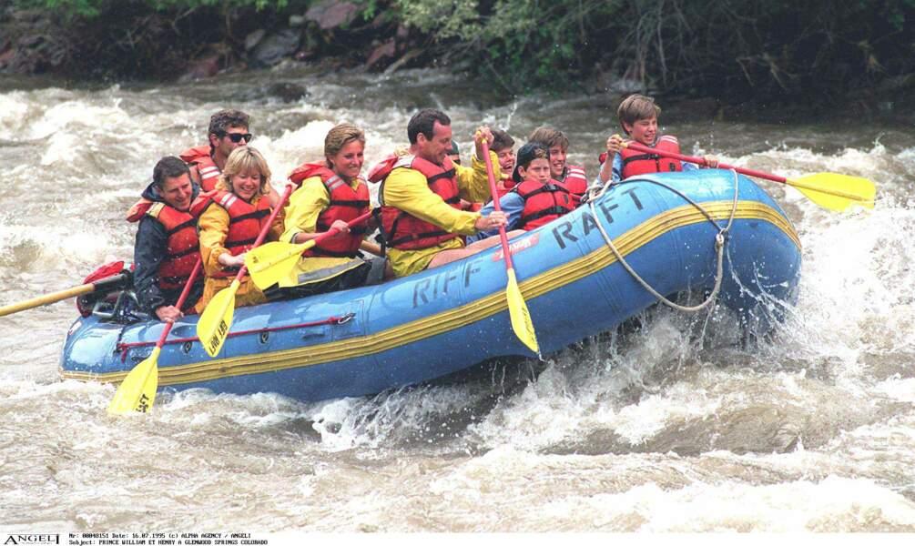 Lady Diana, William et Harry font du rafting à Glenwood Springs dans le Colorado, en 1995