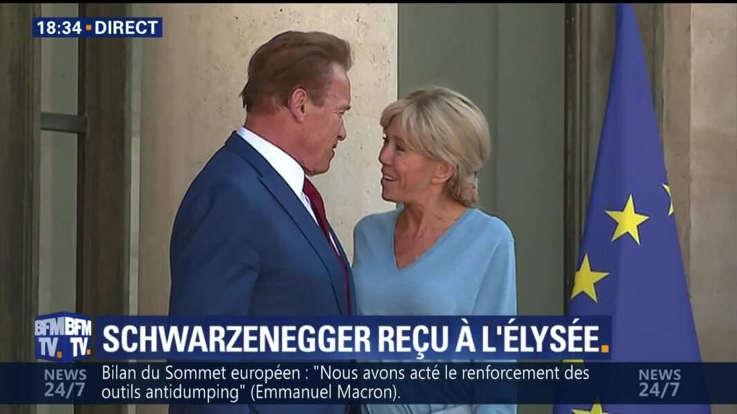 23 juin : Brigitte Macron et Arnold Schwarzenegger à l'Elysée