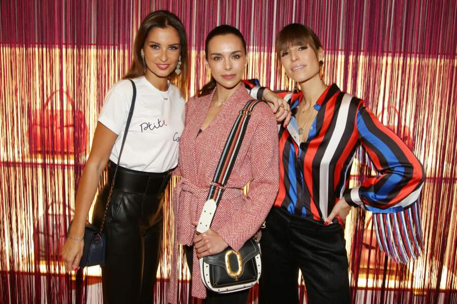 Malika Ménard, Marine Lorphelin et Laury Thilleman chez Lancel, pendant la Paris Fashion Week, le 27 février 2019.