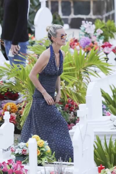 Laeticia Hallyday arrive au cimetière de Lorient à Saint-Barthélemy, le 23 avril 2018