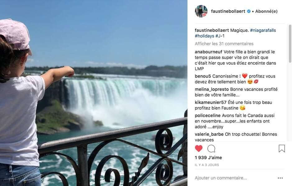 Abbie, la fille de Faustine Bollaert et Maxime Chattam, face aux chutes du Niagara