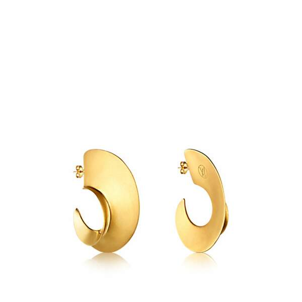Créoles en laiton finition dorée satinée, Louis Vuitton, 395 €.