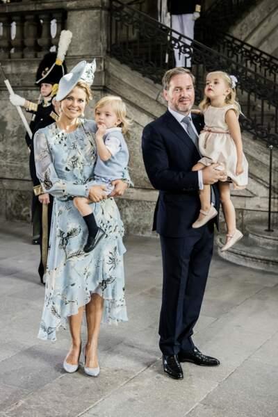 La princesse Madeleine de Suède et son mari, Christopher O'Neill en compagnie de leurs enfants le 14 juillet 2017