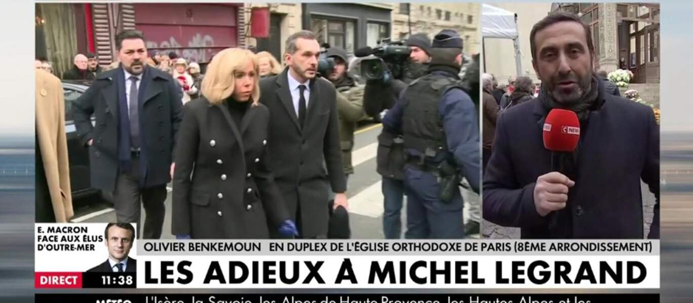 Brigitte Macron aux obsèques de Michel Legrand en la Cathedrale orthodoxe Saint-Alexandre-Nevsky a Paris