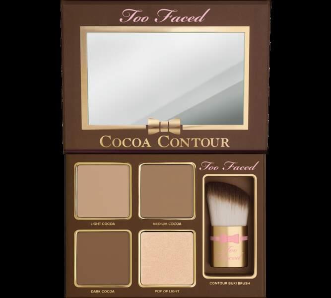 Des traits structurés avec le kit Cocoa contour et illuminateur pour visage, Too Faced, 40,99€