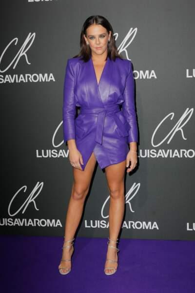 Du violet glamour pour Pauline Ducruet pour la soirée CR Fashion Book de Carine Roitfeld à la Monnaie de Paris