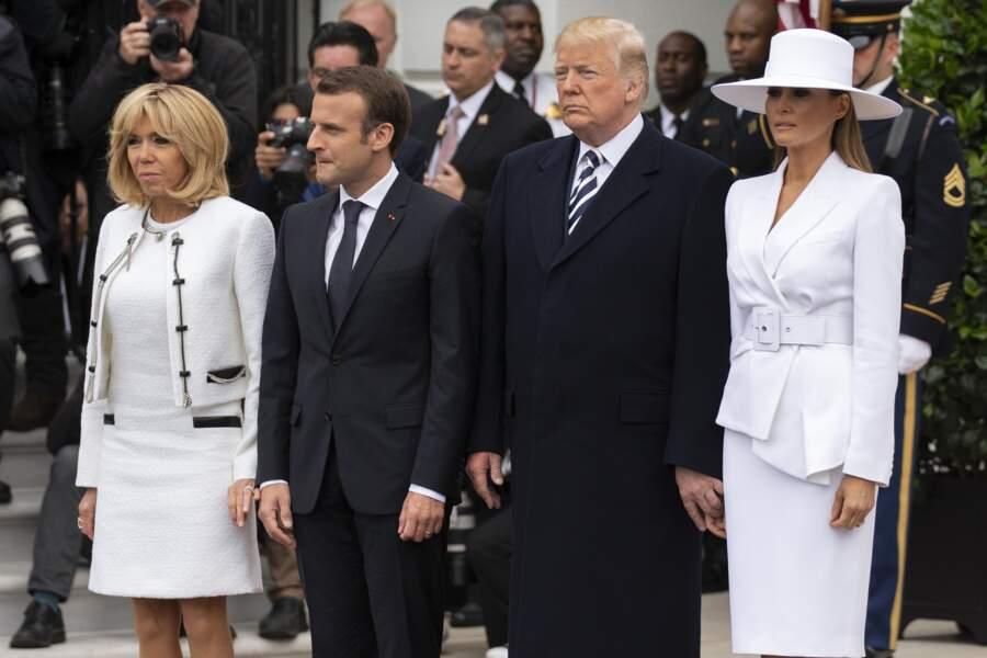 Emmanuel, Brigitte Macron, Donald et Melania Trump à la Maison Blanche ce mardi 24 avril