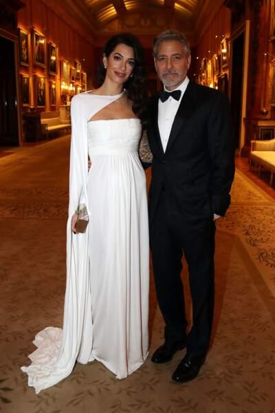 George Clooney et sa femme Amal Clooney très élégants pour le dîner donné par le prince Charles à Buckingham Palace