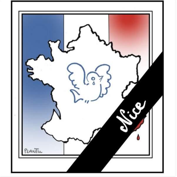 Le dessin de Plantu où un ruban de deuil barre la France au niveau de Nice.
