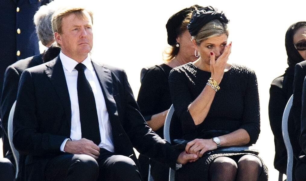 Willem-Alexander et Maxima à l'hommage aux victimes du crash de la Malaysia Airlines, en juillet 2014
