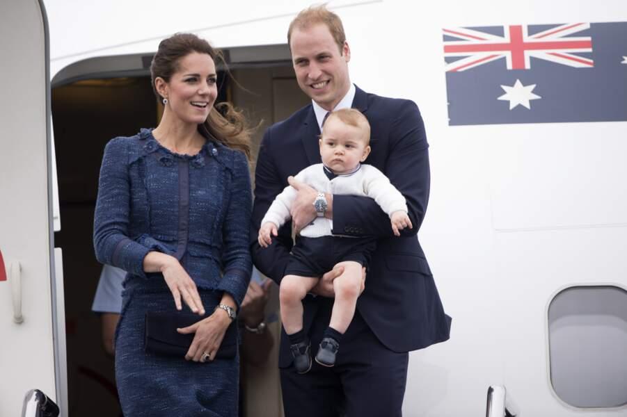 William, Kate et George quittent la Nouvelle-Zélande pour se rendre en Australie, le 16 avril 2014