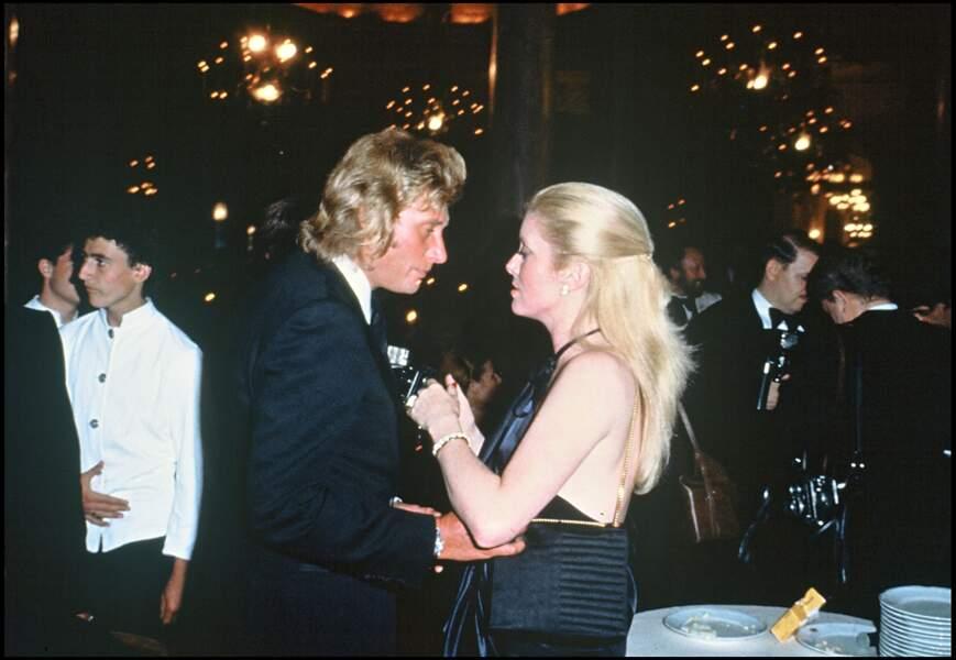 Johnny Hallyday et Catherine Deneuve, en 1979.