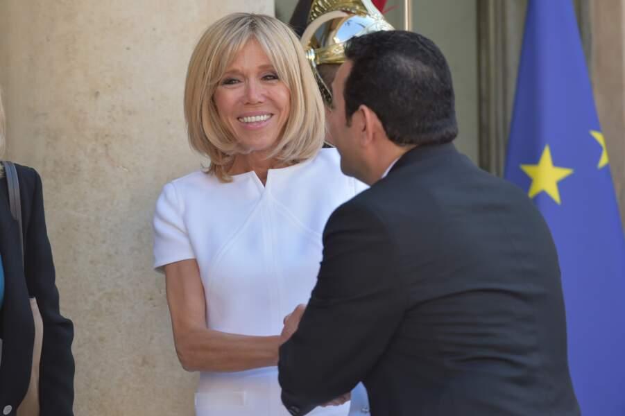 Brigitte Macron accueille Jimmy Morales président du Guatemala