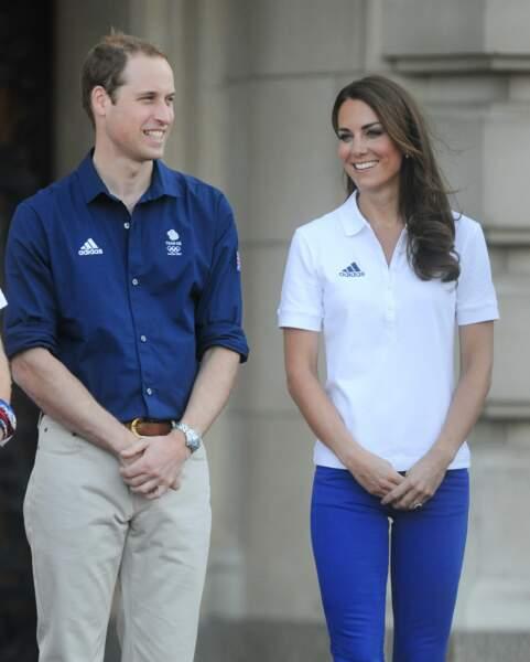 William et Kate à Buckingham, pour accueillir la flamme olympique lors des J.O de Londres, le 26 juillet 2012