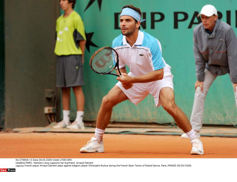 Arnaud Clement en plein match à Roland Garros, en 2009