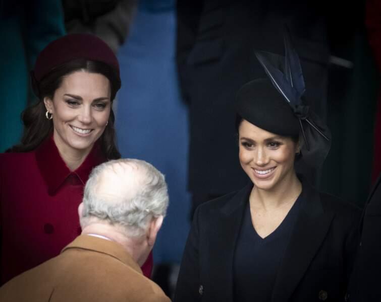 Kate et Meghan complices lors de la messe de Noël à Sandringham, le 25 décembre 2018