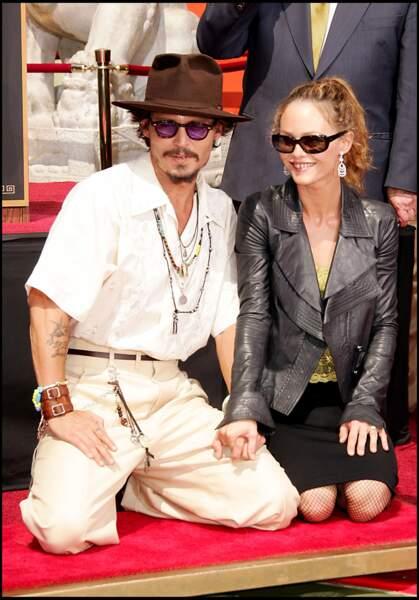 Johnny Depp et Vanessa Paradis au Chinese Theatre à Hollywood (2005)