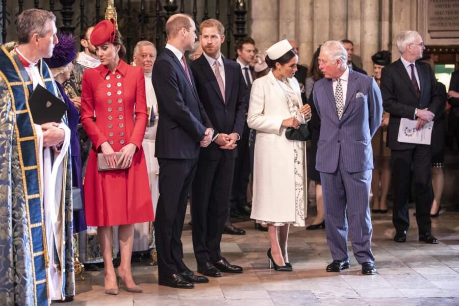Meghan et Charles, en pleine conversation à l'abbaye de Westminster à Londres, le 11 mars 2019