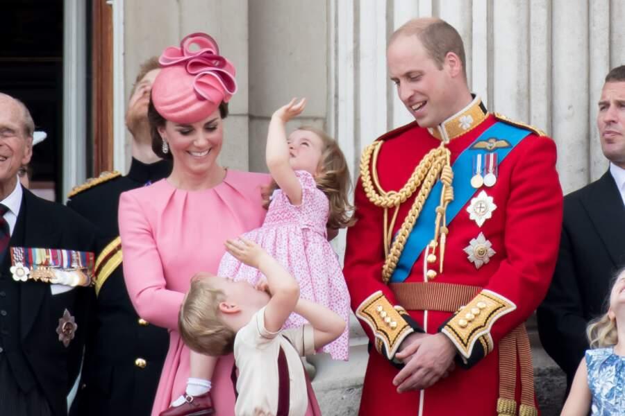 Kate Middleton, le prince George, la princesse Charlotte et le prince William le 17 juin 2017
