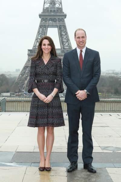 Le prince William et Kate Middleton, duchesse de Cambridge, en visite à Paris le 18 mars 2017