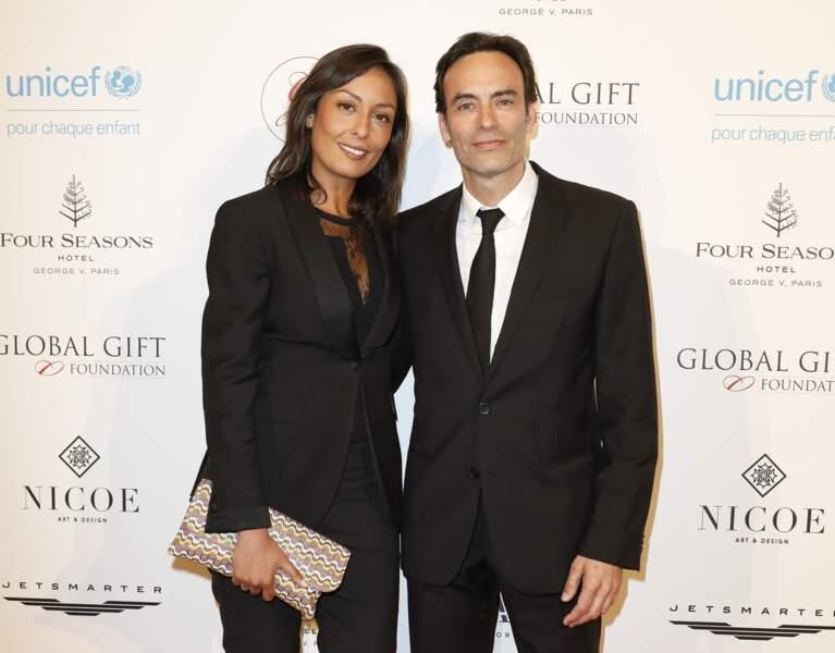 """Anthony Delon et Leïla Kaddour au photocall du """"Global Gift Gala"""" à Paris, le 25 avril 2018"""